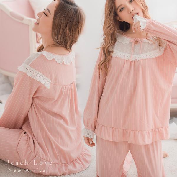 秋冬睡衣 優雅棉質兩件式睡衣+睡褲(粉)-保暖、居家服_蜜桃洋房