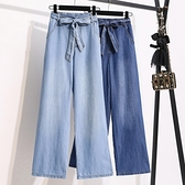 直筒牛仔褲天絲牛仔褲女高腰直筒褲寬松垂感拖地冰絲顯瘦夏季薄款闊腿褲MC077.胖丫