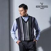 Emilio Valentino范倫鐵諾學院風絲光羊毛背心 (黑灰)