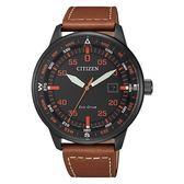 CITIZEN 光動能飛行指南皮革腕錶-褐色-BM7395-11E