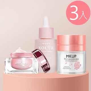 MKUP 美咖 玻璃水光霜+賴床美白素顏霜+奇肌幻顏霜SPF15 (妝前乳)
