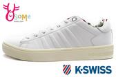 K-SWISS女休閒鞋 內襯圖騰 COURT FRASCO LIBERTY真皮運動鞋C9964#白◆OSOME奧森鞋業