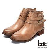 【bac】時尚玩家 - 擦色水染皮革街頭感拉鍊短靴(卡其)