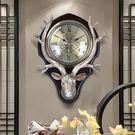 時鐘鐘表掛鐘客廳創意北歐式鐘表復古美式裝飾掛表靜音時鐘大鹿頭掛鐘 DF   維多3C
