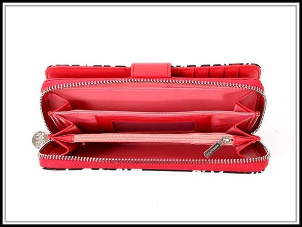 世界保羅WORLD POLO紅色搖滾二折式多隔層長夾