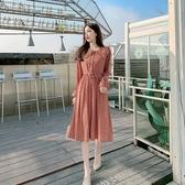 2020春季新款小碎花長袖雪紡洋裝娃娃領收腰顯瘦中長款裙子女潮 草莓妞妞