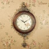 豪華歐式掛鐘 客廳實木擺鐘創意藝術壁掛鐘錶田園靜音復古裝飾時鐘