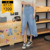 PUFII-中長裙 前開衩牛仔中長裙-0704 現+預 夏【CP17028】
