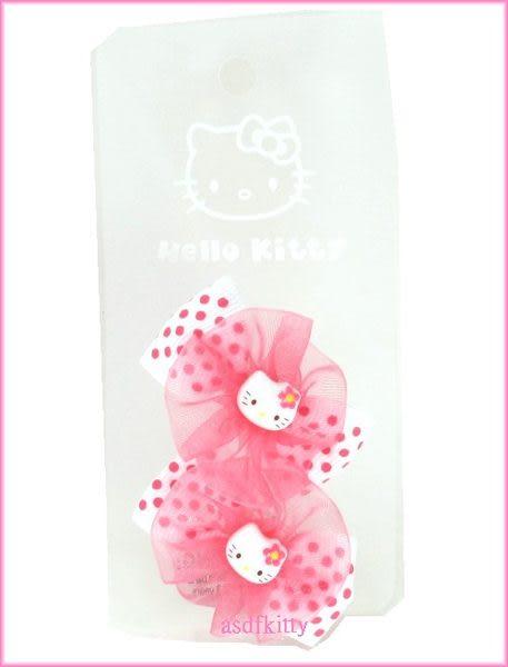 個人 嬰童用品【asdfkitty可愛家】KITTY粉圈水玉蝴蝶結髮夾-歐美版正版商品