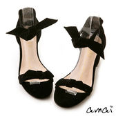 amai輕奢絨布2way蝴蝶結粗跟涼鞋 黑