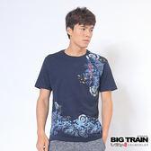 BIG TRAIN 急流湧鯉圓領T-男-深藍