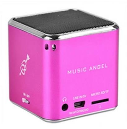 [富廉網] 音樂天使MD-07U 粉色 支援USB/MICRO SD卡 粉色 攜帶型喇叭