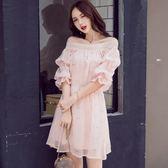 洋裝0865一字領堆堆袖亮片連身裙女收腰甜美少女中裙GT2F-233-A紅粉佳人