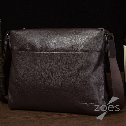 【Zoe s】頂級牛皮 商務系列 荔枝紋電腦包(品味棕)