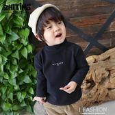 寶寶加絨打底衫半高領韓版潮1-3歲男童高領打底衫抓絨寶寶長袖t恤-ifashion