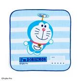 小禮堂 哆啦A夢 純棉割絨方巾 手帕 小毛巾 20x20cm (藍白 竹蜻蜓) 4550337-69466