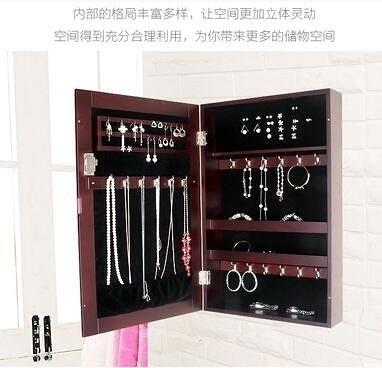 歐式木質飾品收納櫃壁掛式大號首飾盒帶鎖 妝臺浴室鏡牆面裝飾鏡【胡桃色 鏡櫃】