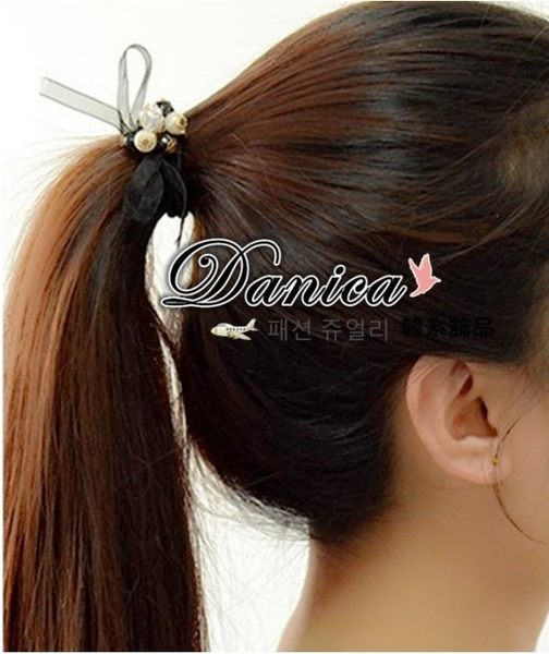 髮飾 現貨 韓國熱賣時尚氣質甜美手作蝴蝶結魔球珍珠水鑽髮束 S7104 批發價Danica 韓系飾品