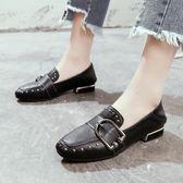 女鞋春季2018新款 韓版百搭低跟方頭鞋子女平底單鞋女 貓跟鞋子女