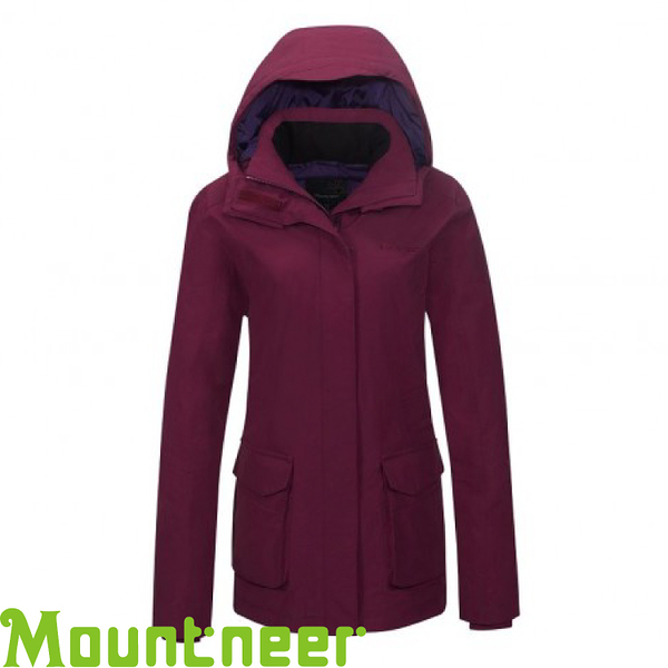 【Mountneer 山林 女款 防水保暖羽絨外套《紫紅》】22J16/90羽絨/10羽毛/750FP