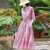 洋裝粉色碎花仿苧麻連身裙春新款旅行文藝氣質收腰顯瘦棉麻風長裙 快速出貨