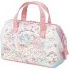 小禮堂 雙子星 硬式支架尼龍保冷便當袋 保冷提袋 野餐袋 手提袋 (粉白 獨角獸) 4973307-50074