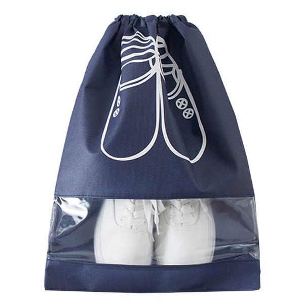 [7-11限今日299免運]旅行束口透明鞋袋 收納袋 防塵袋 整理袋 防潮袋 大款✿mina百貨✿【B00084-F】
