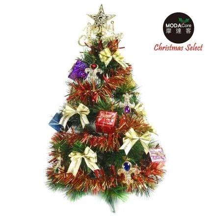 【南紡購物中心】【摩達客】台灣製2尺60cm綠松針聖誕樹+紅金寶石禮物盒系裝飾
