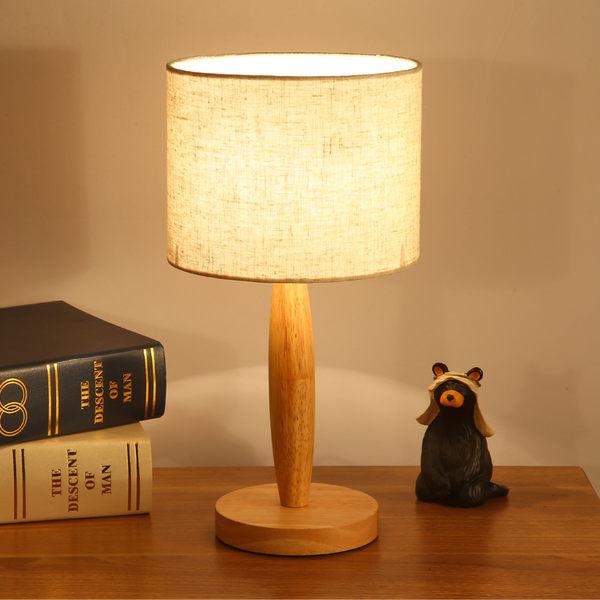台燈創意歐式臥室床頭燈閱讀起夜喂奶田園看書溫馨可調光北歐實木檯燈 全館八折柜惠