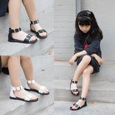 兒童涼鞋時尚鉚釘女童涼鞋夏季兒童韓版露趾軟底涼鞋女童鞋羅馬鞋