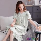 夏季睡衣女士睡裙夏天薄款莫代爾短袖長裙媽媽中年寬松裙子 HR107