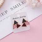 耳環 甜美繽紛三角形撞色幾何 耳環