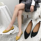 女鞋PU單鞋2019冬季新款低幫鞋中口橡膠方跟低跟網布尖女鞋 JY8333【pink中大尺碼】