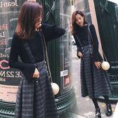 中大尺碼針織背帶裙兩件套秋冬季毛呢小香風套裝裙子女3F057.6523皇潮天下