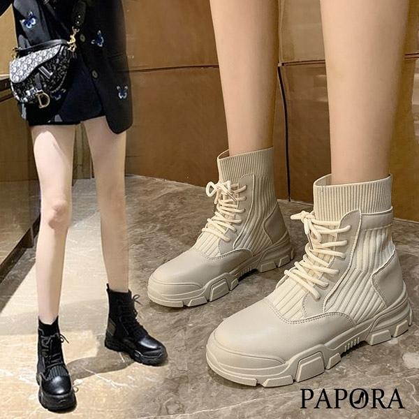 PAPORA針織拼接鬆緊懶人中筒靴短靴KK8007