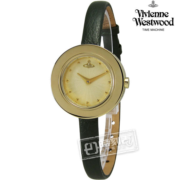 Vivienne Westwood / VV097GDGY / Edge 甜心小姐皮革手錶 金x墨綠 26mm