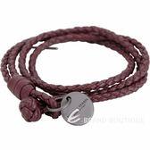 BOTTEGA VENETA 編織小羊皮雙繩多圈手環(紅梨色) 1830532-74