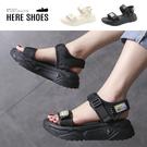 [Here Shoes] 厚底4cm 透氣尼龍網布魔鬼氈扣帶可調 美式運動風涼鞋─KG8801