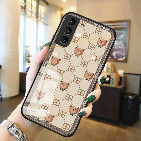 潮牌簡約SamSung S21+保護套 卡通小熊三Galaxy S21 Ultra手機套 三星創意S20 Plus手機殼 三星S10保護殼