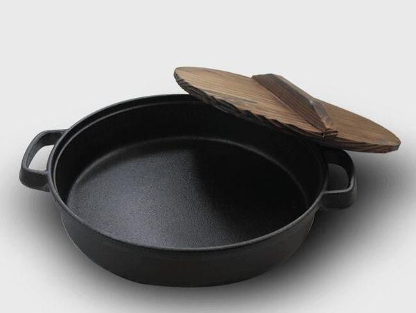 幸福居*加厚鑄鐵鍋平底煎鍋烙餅煎蛋水煎包鍋具無塗層不粘鍋燃氣通用(28公分單鍋+木蓋)