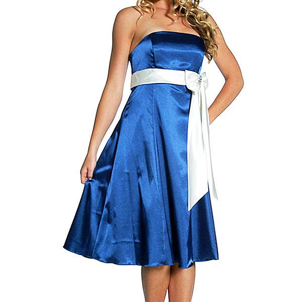 『摩達客』美國進口Landmark無肩帶平口藍色緞面優雅過膝裙派對小禮服/洋裝(含禮盒)(1831395006)