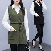 時尚休閒兩件套L-4XL2019秋裝新款韓版大碼微胖mm時尚襯衣 馬甲顯瘦套裝4F093-19865