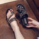 仙女拖鞋 ins網紅拖鞋女外穿2021夏季新款時尚仙女百搭亮片套趾平底涼拖鞋