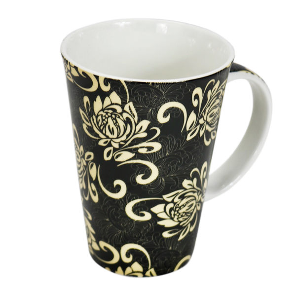 【美國品牌Royal Duke】骨瓷杯-黑底白花-QC13