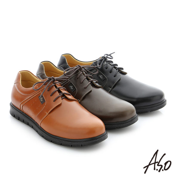 A.S.O 輕量抗震 油感牛皮綁帶奈米紳士休閒鞋 黑