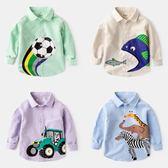 男寶寶純棉長袖2卡通百搭春秋3歲兒童襯衫4男童襯衣秋裝上衣5童裝   夢曼森居家