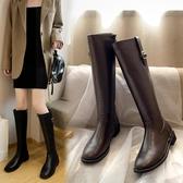 長靴 不過膝秋冬新款加絨方頭粗跟皮靴女士高筒靴媽媽瘦瘦靴