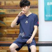 夏季男士短袖T恤兩件套裝潮流棉麻寬鬆體恤休閒短褲大碼運動衣服