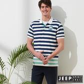 【JEEP】美式冒險短袖POLO衫-藍