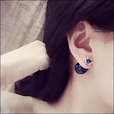 耳環LoVie韓版氣質OL爆裂感珠珠皇冠亮鑽前後耳釘女時尚雙面耳環【03U0187】